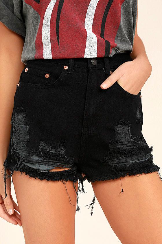 Wreck-Reational Activity Black Destroyed Denim Shorts 1