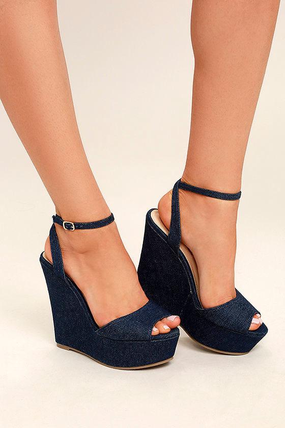 Cute Blue Wedges Denim Wedges Ankle Strap Wedges 36 00