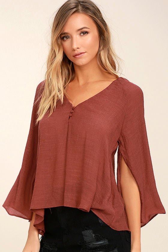 Catch the Light Rust Red Long Sleeve Top 1