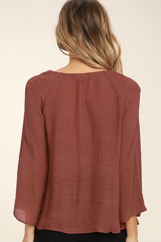 Catch the Light Rust Red Long Sleeve Top 4