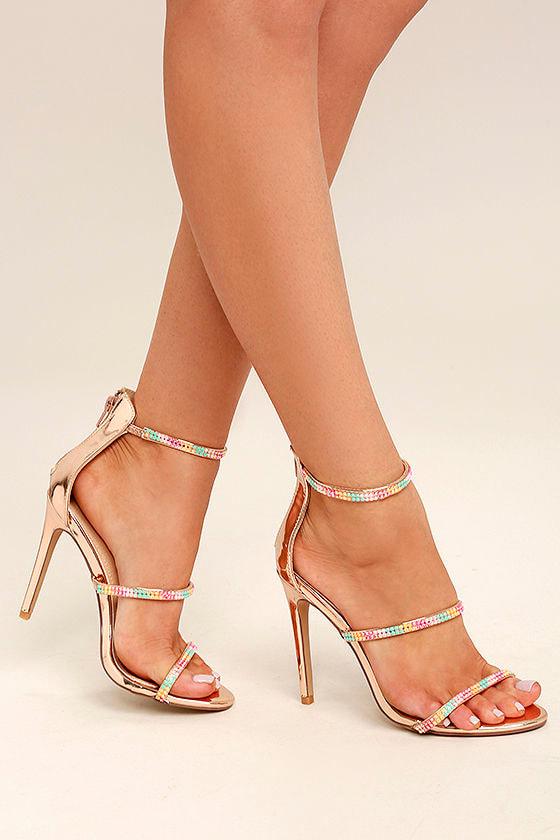 Lianne Rose Gold Dress Sandals 1