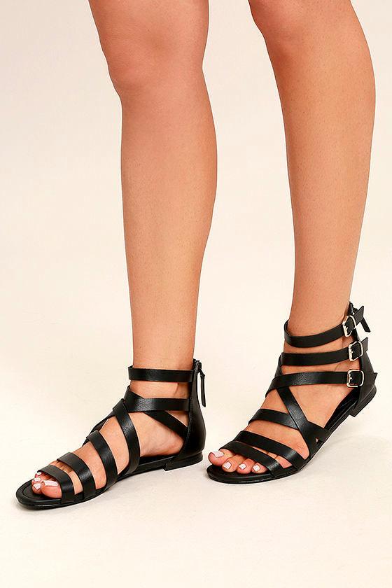 79fce9f2167 Cute Black Sandals - Black Gladiator Sandals - Gold Buckle Sandals -  24.00