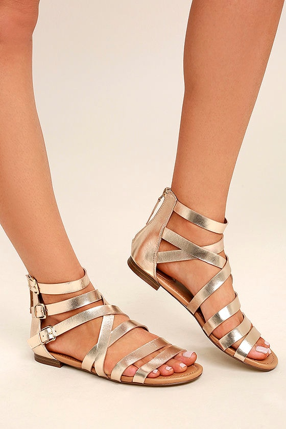 Cute Champagne Sandals - Gold Gladiator Sandals - Gold Buckle ...