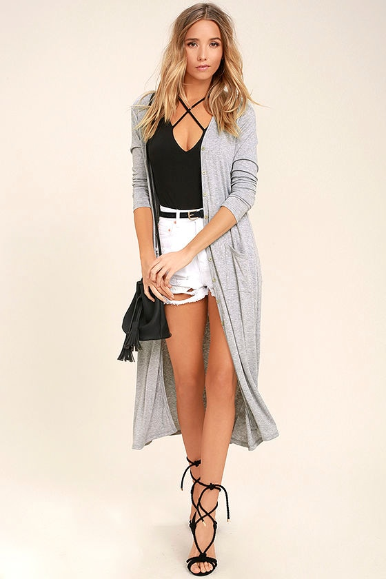 Graceful Ways Heather Grey Long Cardigan Sweater 1