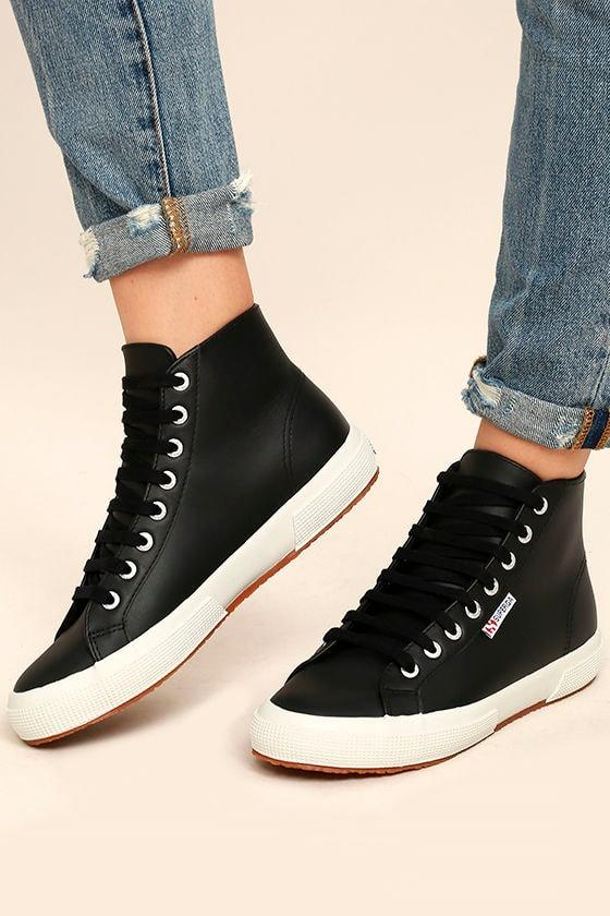Superga 2795 Fglu Black Leather High Top Sneakers