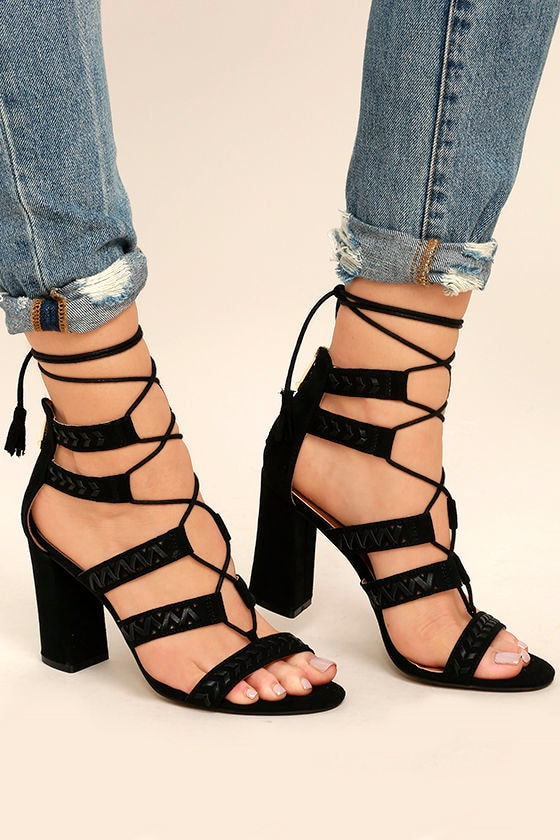 Report Myra Black Suede Lace-Up Heels