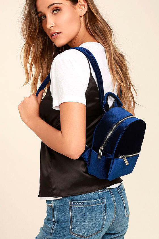 Skinnydip London Cutie Navy Blue Velvet Mini Backpack 1