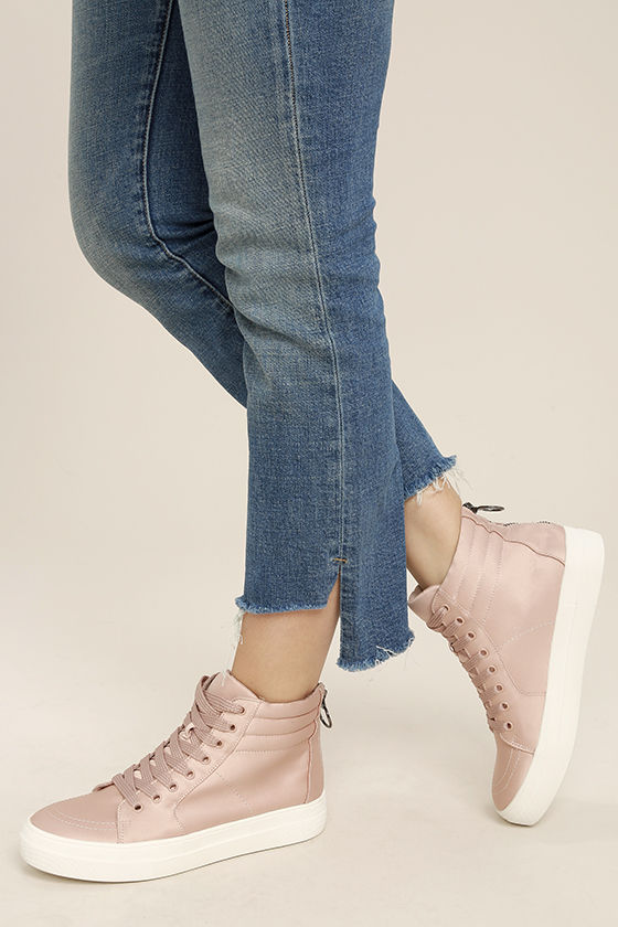 4f81070c8cf Steve Madden Golly - Blush Satin Sneakers - High-Top Sneakers