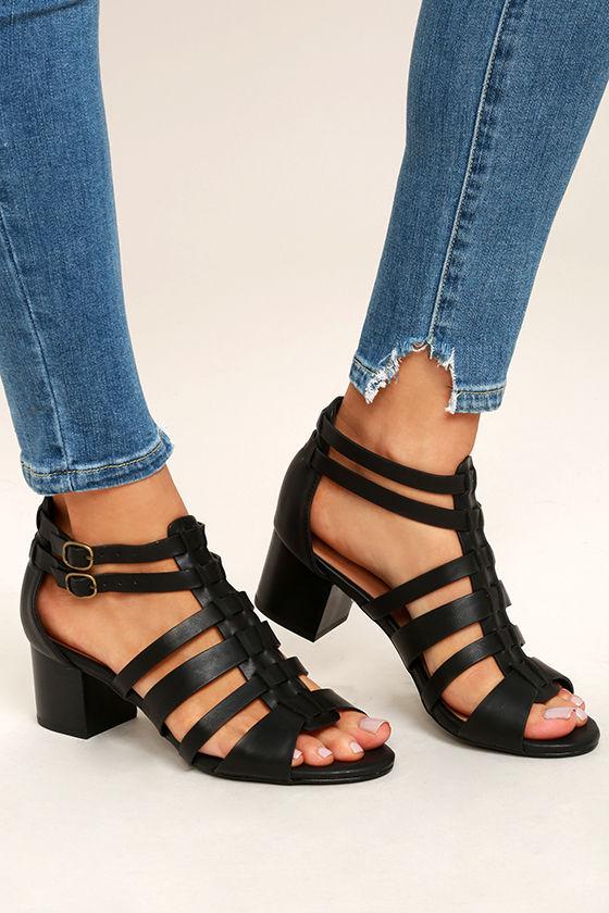 Restricted Hudson Black Caged High Heel Sandals 1