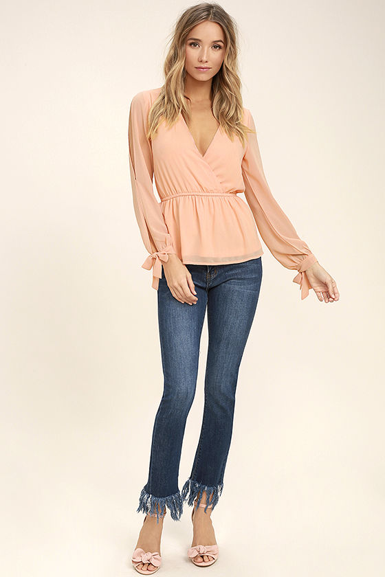 Mutual Attraction Peach Long Sleeve Top 2