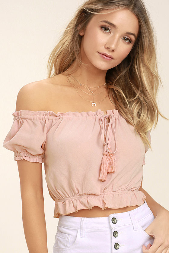 Plant a Garden Blush Pink Off-the-Shoulder Crop Top 1
