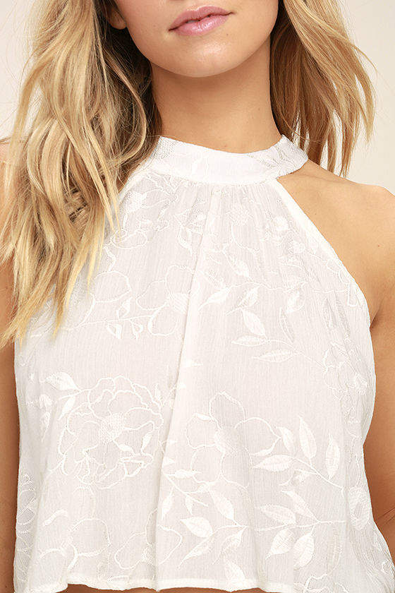 Lucy Love Victoria White Embroidered Crop Top 5