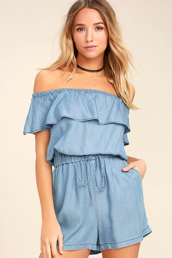 PPLA Colt Blue Chambray Off-the-Shoulder Romper 1