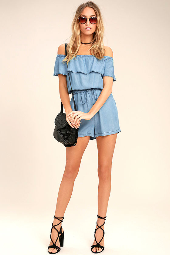 PPLA Colt Blue Chambray Off-the-Shoulder Romper 2