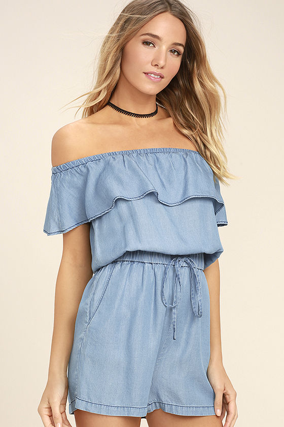 PPLA Colt Blue Chambray Off-the-Shoulder Romper 3