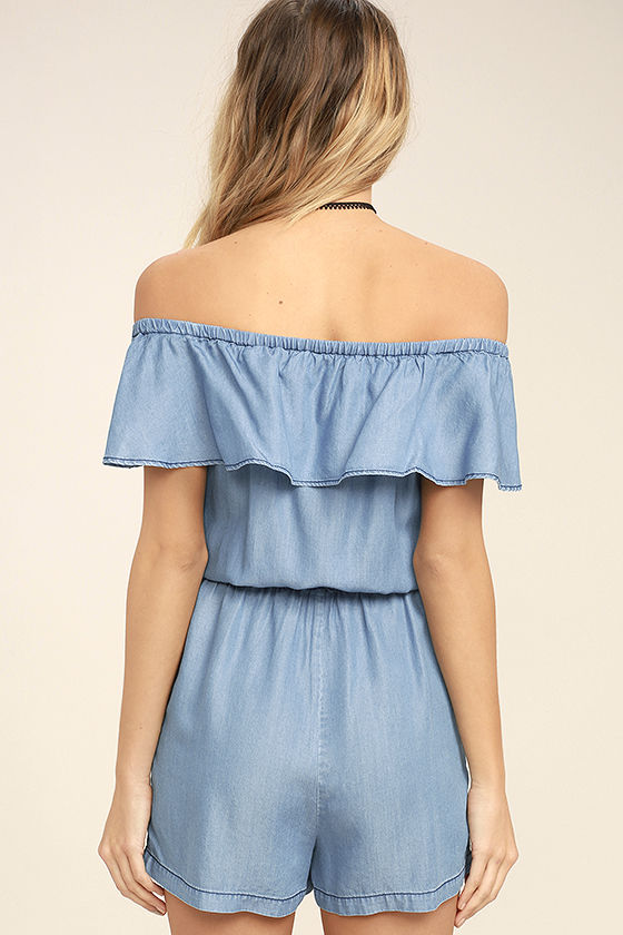 PPLA Colt Blue Chambray Off-the-Shoulder Romper 4