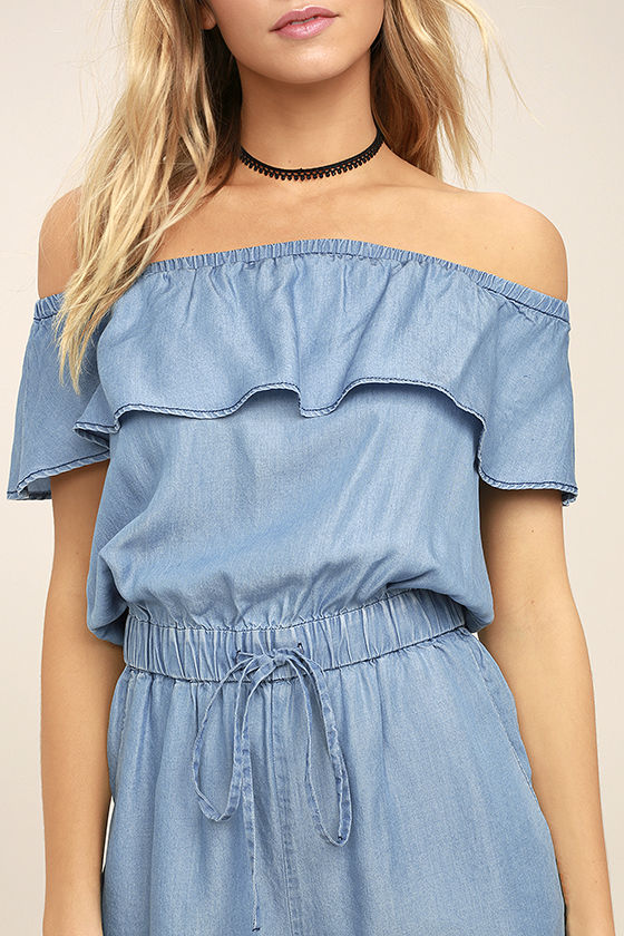 PPLA Colt Blue Chambray Off-the-Shoulder Romper 5