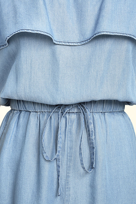 PPLA Colt Blue Chambray Off-the-Shoulder Romper 6