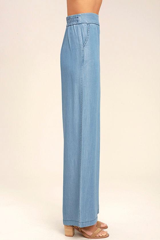 Chic Chambray Pants - Blue Wide-Leg Pants - Blue Chambray Pants ...