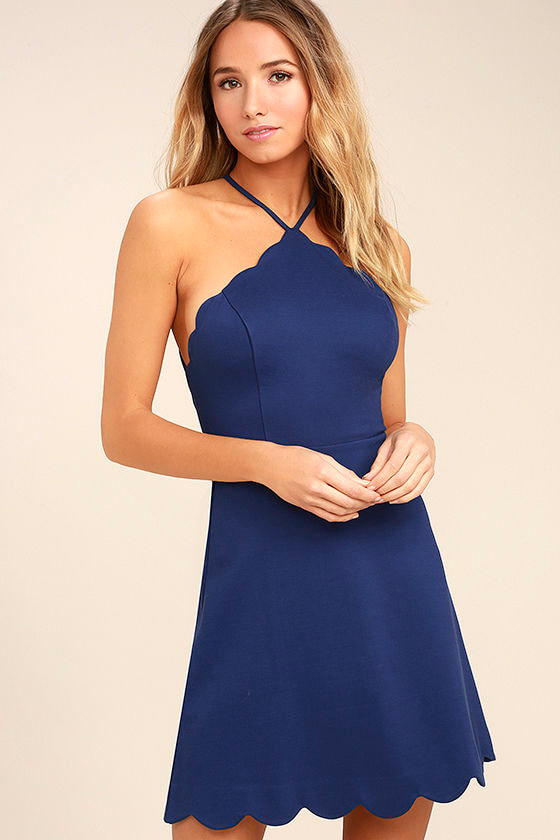 Your Everything Navy Blue Backless Skater Dress