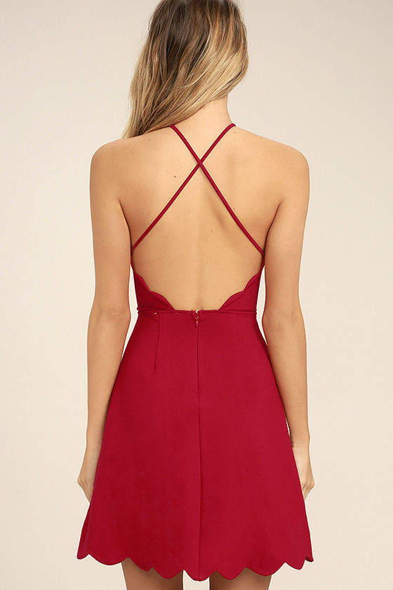Your Everything Red Backless Skater Dress 4