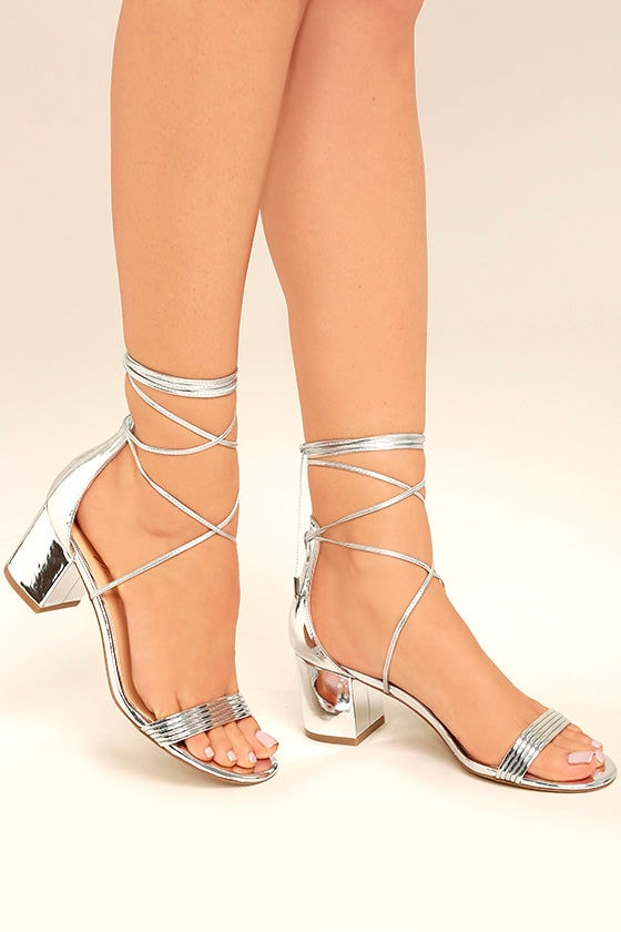 Daya by Zendaya Salem Silver Lace-Up Heels 1