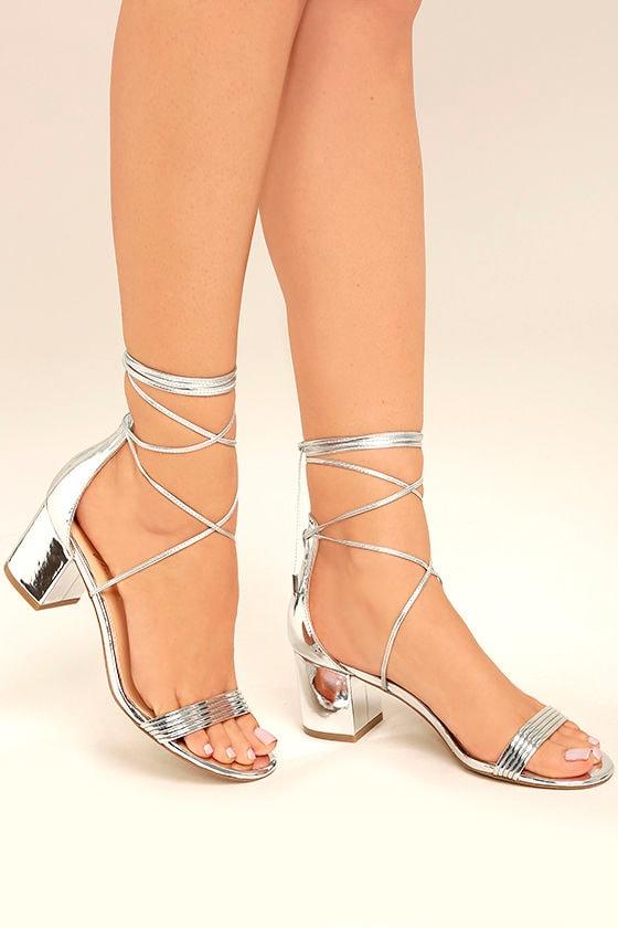 Daya by Zendaya Salem - Silver Block Heels - Silver Lace-Up Heels ...
