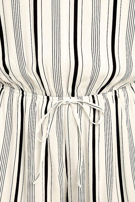 Dive In Black and White Striped Romper 6