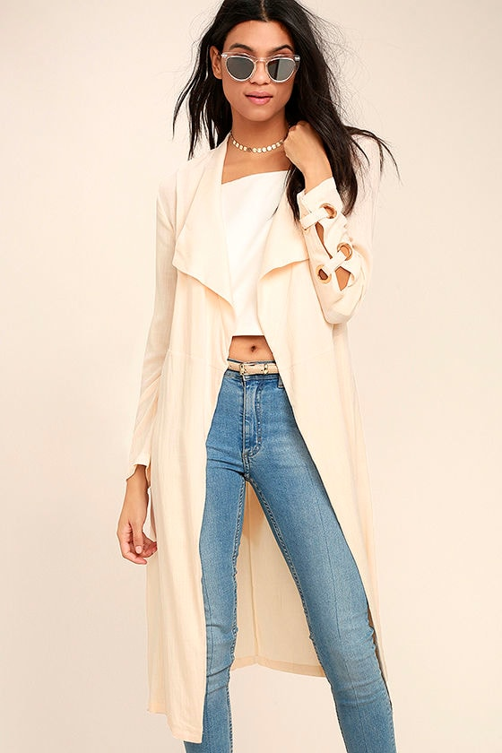 Invigorating Pale Peach Trench Coat 1