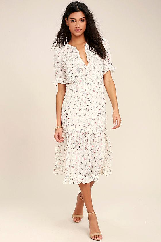 Lovely Cream Dress - Floral Print Dress - Crochet Lace Dress ...