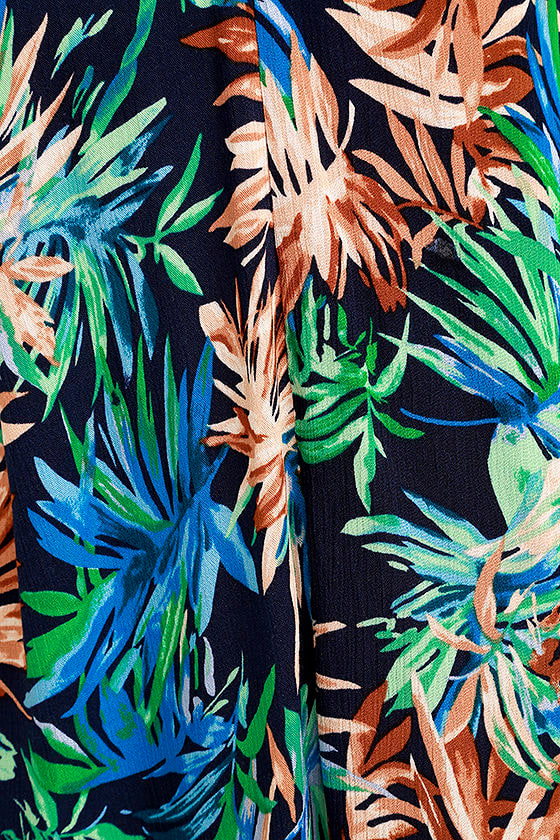 Once a Palm a Time Navy Blue Tropical Print Swing Dress 6