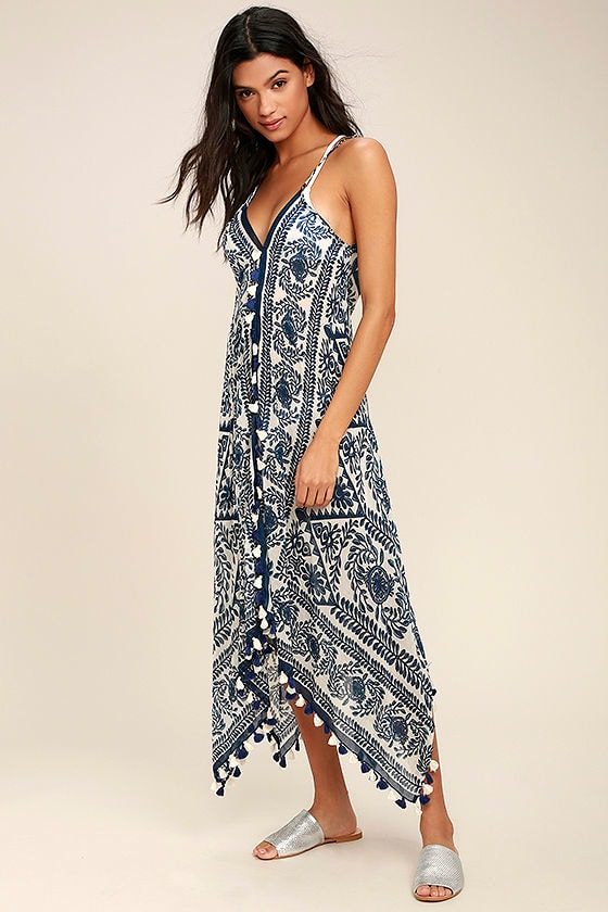 Sweet Splendor Navy Blue Print Cover-Up 1