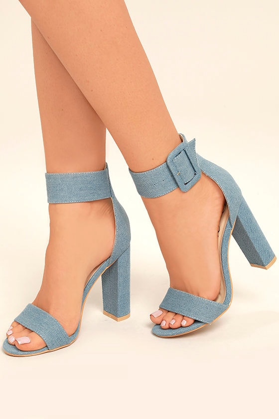 Chic Blue Denim Heels Denim Ankle Strap Heels Blue