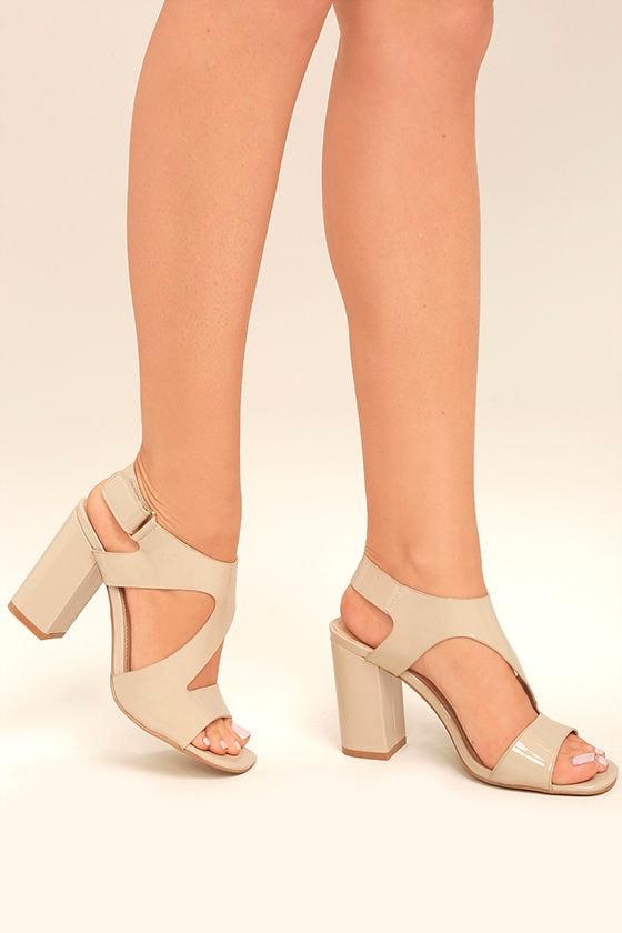 Chic Nude Heels - Nude Patent Heels - Cutout Nude Heels - $53.00