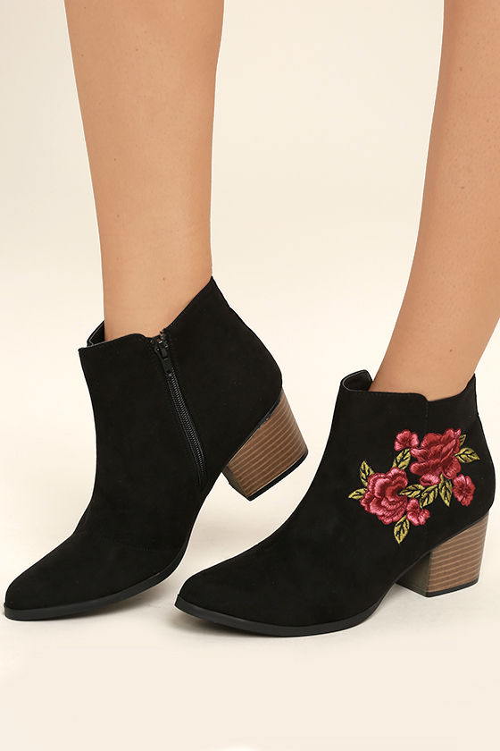 Feronia Black Suede Embroidered Ankle Booties 2