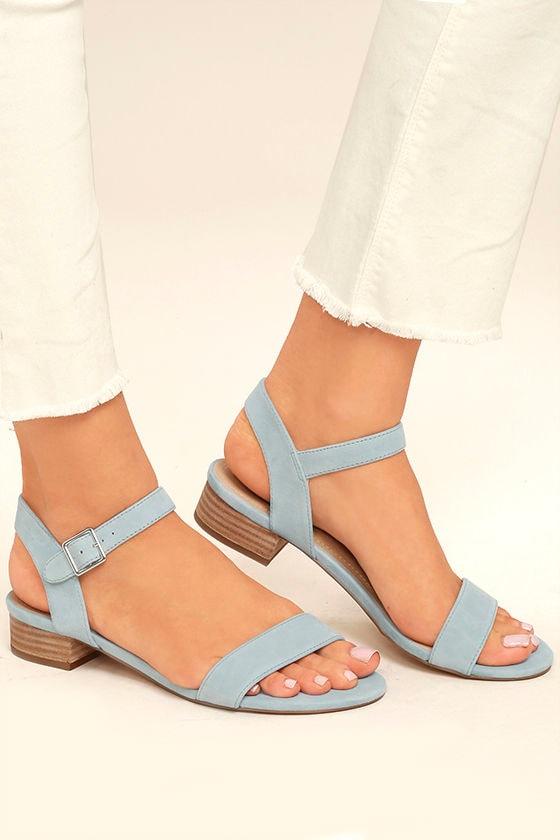 3785b64089c6 Steve Madden Cache Sandals - Light Blue Sandals - Suede Leather ...