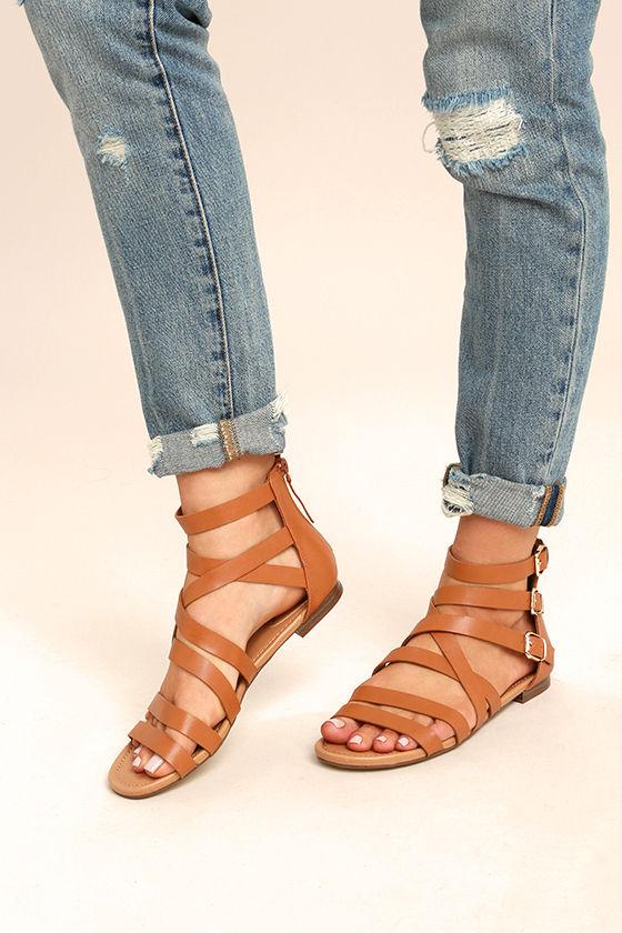 Neria Tan Gladiator Sandals 1