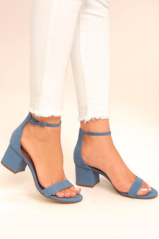 3f1c5251780 Steve Madden Irenee - Light Blue Heels - Ankle Strap Heels - Heeled ...