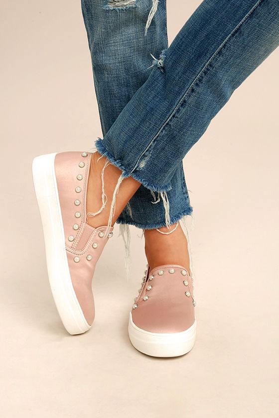 cc694e972bf Steve Madden Glacier Sneakers - Blush Satin Sneakers - Slip-On ...