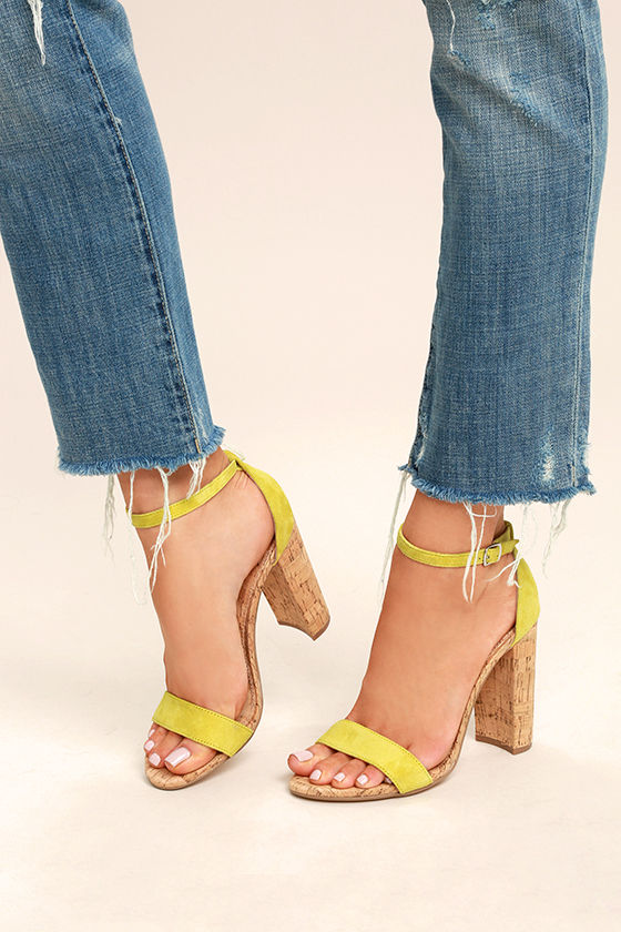 617780c8b214 Steve Madden Carson C Yellow - Cork Heels - Suede Leather Heels - Ankle  Strap Heels -  89.00