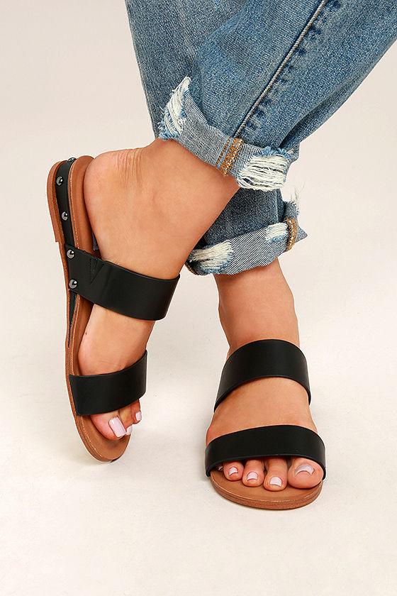 a3db31344a29f Steve Madden Dakotas - Black Leather Sandals - Black Slide Sandals ...
