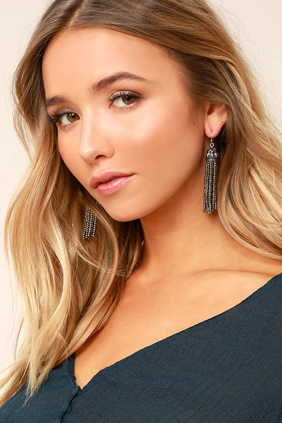 Royal Affair Gunmetal Beaded Tassel Earrings 1