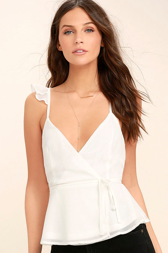Totally In Love White Wrap Top 1
