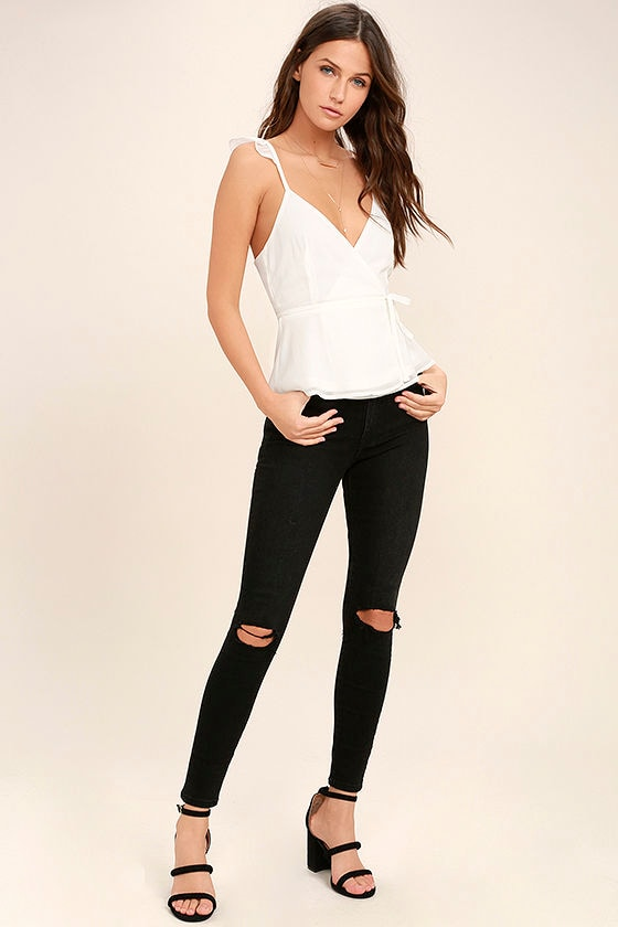 Totally In Love White Wrap Top 2