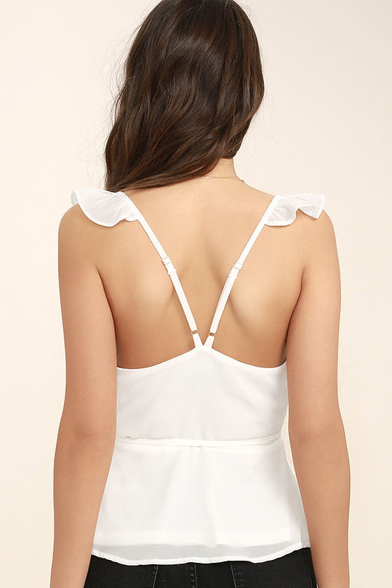 Totally In Love White Wrap Top 4