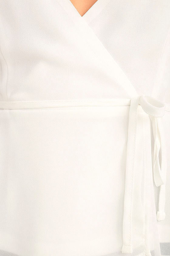 Totally In Love White Wrap Top 6