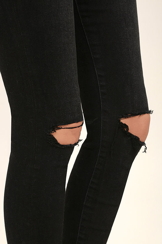 Rollas Westcoast Staple Washed Black Distressed Skinny Jeans 6