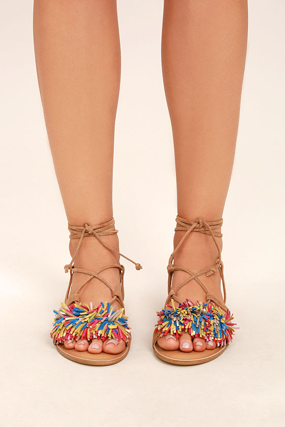 55fdce08d65 Steve Madden Swizzle Natural Multi Suede Leather Lace-Up Sandals