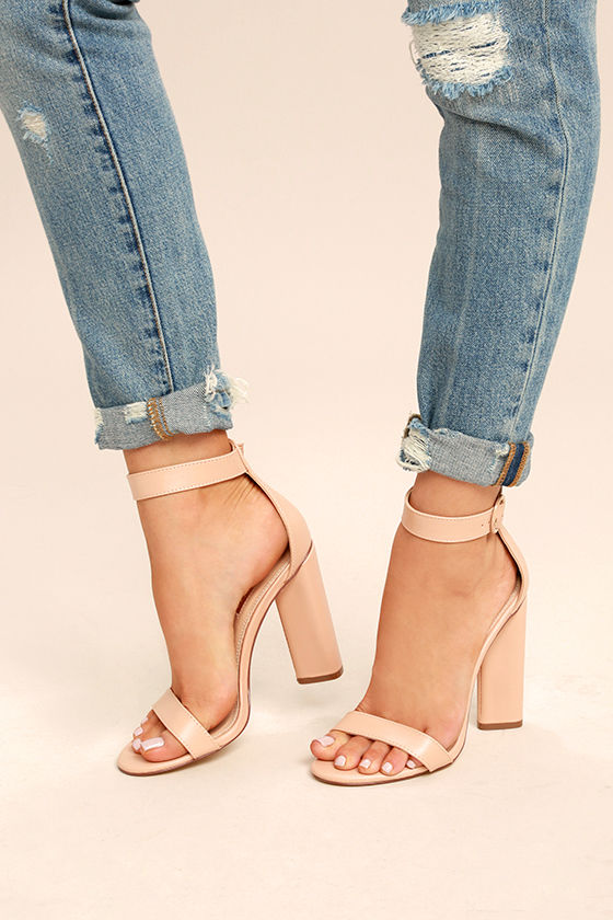 97c45a3559 Chic Nude Heels - Nude Ankle Strap Heels - Single Sole Heels - $35.00