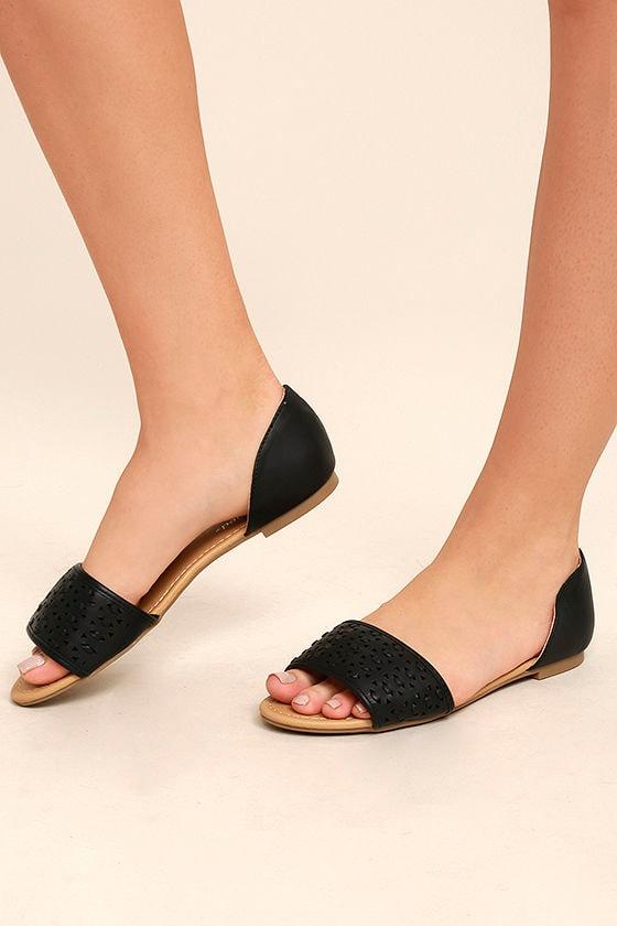 Voleta Black Cutout Peep-Toe Flats 2